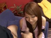Nasty Japanese in tight fishnet gagging a hard cock and fucked