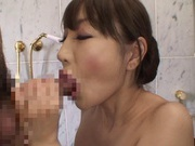 Rina Yada Gives A Great Blowjob On Her Knees In The Bathroom