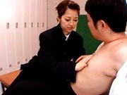 School girl Kanon Imai sucks and fuck in the locker rooms