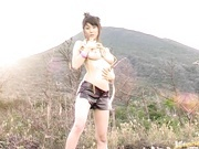 Yuma Asami show her big boobs outdoors