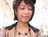 Teen officer Nanami Kawakami sucks a cock in public picture 13