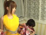 Hot busty Asian chick Kokomi Naruse gives blowjob picture 2
