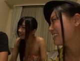 Sexy girls sharing cock in nasty Japanese group action picture 1