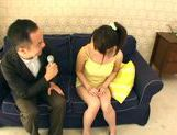 Busty Ayano Umemiya Fucked On The Couch By An Interviewer picture 1