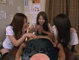 Three Asian girls give a blowjob picture 11
