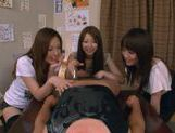 Three Asian girls give a blowjob picture 12