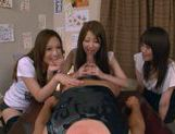 Three Asian girls give a blowjob picture 13