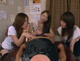Three Asian girls give a blowjob picture 14