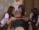 Three Asian girls give a blowjob picture 15