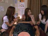 Three Asian girls give a blowjob