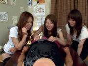 Three Asian girls give a blowjobasian pussy, japanese sex}