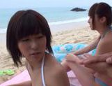 Sexy Japanese AV Model enjoys cock sucking CFNM picture 11
