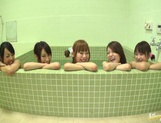 Japanese gals line up ass in bathtub Mako Higashio