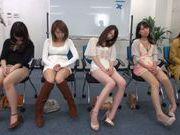 Horny Asian teens get off masturbation in a sex workshop