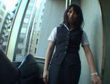 Office worker Yuika Seno sucks on a massive Japanese cock