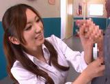 Hot and sexy Japanese porn star student Saki Ayano sucking and stroking a hard cock picture 15