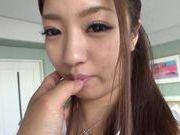 Alluring Asian teen Manatsu Yumeka sucks hard cock