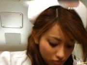 Wild nurse Nao Yoshizaki curing hard cock!