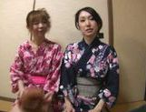 Sexy Japanese girls in Kimonos wank a guy off, until he shoots his cum