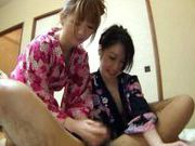Sexy Japanese girls in Kimonos wank a guy off, until he shoots his cumasian babe, hot asian pussy}