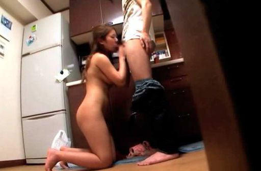Nasty and naughty teen couple making out and having sex in the kitchen