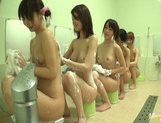 Bathhouse naked Japanese women with peeping dude Mako Higashio picture 11