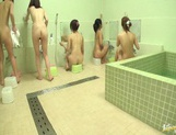 Bathhouse naked Japanese women with peeping dude Mako Higashio picture 1