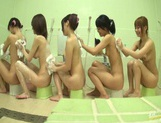 Bathhouse naked Japanese women with peeping dude Mako Higashio picture 3