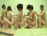 Bathhouse naked Japanese women with peeping dude Mako Higashio picture 4