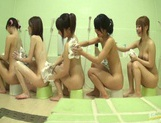 Bathhouse naked Japanese women with peeping dude Mako Higashio picture 5