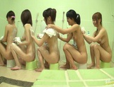 Bathhouse naked Japanese women with peeping dude Mako Higashio picture 6
