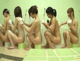 Bathhouse naked Japanese women with peeping dude Mako Higashio picture 7