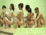 Bathhouse naked Japanese women with peeping dude Mako Higashio picture 8
