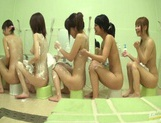 Bathhouse naked Japanese women with peeping dude Mako Higashio picture 9