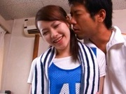 Yui Uehara wearing a sport uniform gets fucked and sucks cock.