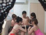 Japanese girls give one horny guy a special bath time treat