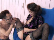 Sexy amazing milf Ami Matsuda gets her hairy cunt licked by her slaveasian ass, horny asian}