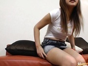 Cute little teen Anna Shinagawa fucks like a milf wearing a short skirt.