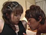 Dirty babe milf Haruki Tohno takes a big cock in her apartment.