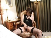 Dirty babe milf Haruki Tohno takes a big cock in her apartment.