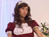 Sexy maid Rimu Himeno wakes up a lucky dude sucking his cock. picture 14