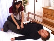 Sexy maid Rimu Himeno wakes up a lucky dude sucking his cock.