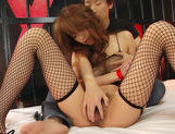 Sexy Ai Kurosawa wearing fishnets takes a dildo and a big boner.