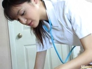 Wild nurse Hijiri Kayama cures her patient with some cock sucking and hard fucking.