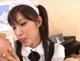 Hot Maid Riko Tachibana gets gangbanged by two horny Asians. picture 10
