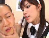 Hot Maid Riko Tachibana gets gangbanged by two horny Asians. picture 13