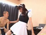 Hot Maid Riko Tachibana gets gangbanged by two horny Asians.