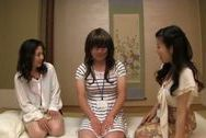 Horny Japanese vixens makes oral job for perverted dudejapanese boobs, big asian boobs