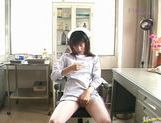 Saki Budou sucks masturbation in nurse outfit