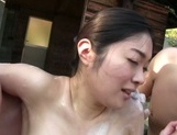 Peachy Asian married chick Ayumi Shinjyou gets her nude body soaped picture 15